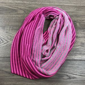 Gap Pink/ Grey Stripped Ribbed Infinity Scarf